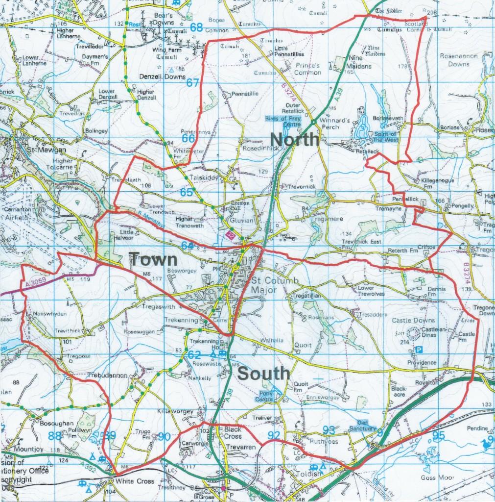 St. Columb Major Town Council boundary map